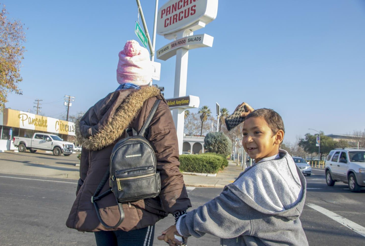 "Duren-Hill takes her son to Pancake Circus after receiving money from the Facebook group "" Is this a Depression Meal?"" in Sacramento, Calif.  on Jan. 2, 2019. (Photo by Ashley Hayes-Stone)"