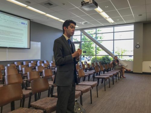Secretary of the American River College Engineering Club, Jesbaam Sanchez advocates for a $2,500 grant at the Associated Student Body board meeting on behalf of the club on May 3, 2019.