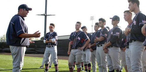 American River College baseball manager Doug Jumelet talks to his team after getting routed 15-7 by Diablo Valley College in 2015. Jumelet is not qualified to manage the baseball team for he hasn't finished with a winning record since 2005. (File Photo)