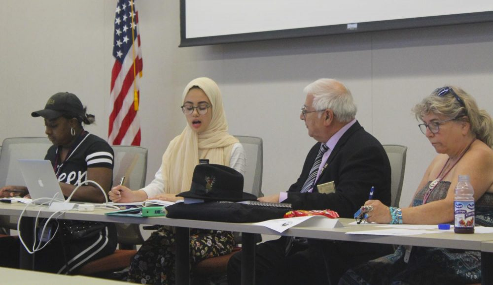 ASB met on Aug. 30, 2019 to discuss three bills, American River College Student Senate President Aesha Abduljabbar addresses the senate and calls for a vote on a bill. (Photo by Josh Ghiorso)