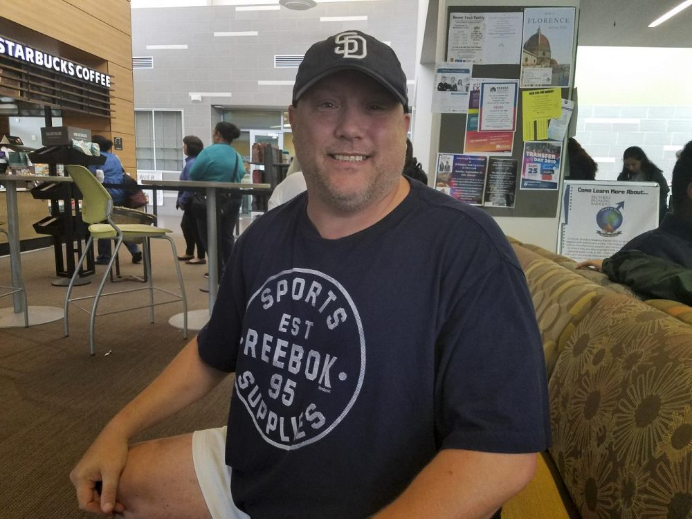 Jeffrey Powell, the peer support specialist for National Alliance of Mental Illness Sacramento, attends the NAMI meetings at American River College to offer support and advice to individuals who are dealing with their own mental health conditions.  (Photo by Brandon Zamora)