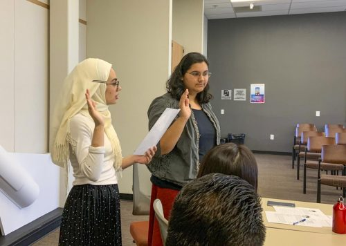 ARC Student Senate President Naomi Dasari (pictured, right, on Sept. 13, 2019) has been lobbying for SB 291 and more affordable college since last semester. (File photo by Alexis Warren)