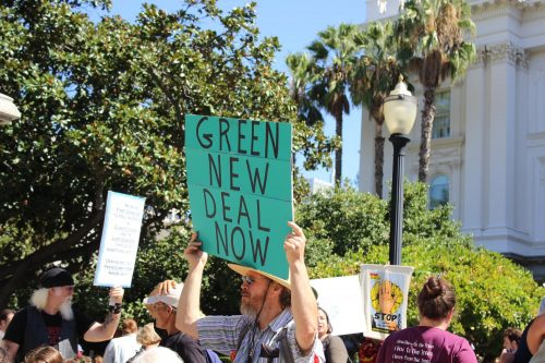Hundreds of people gather at the California State Capitol to protest climate chnage on Sept. 20, 2019.