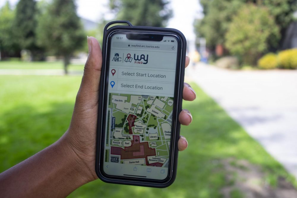 The Wayfind tool helps students navigate the American River College campus and avoid construction. (Photo by Jennah Booth)