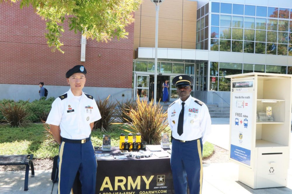 Two+U.S.+Army+recruits+wait+for+students+to+join+their+cause+outside+of+the+library+at+American+River+College+on+Oct.+7%2C+2019.+%28Photo+by+Thomas+Cathey%29