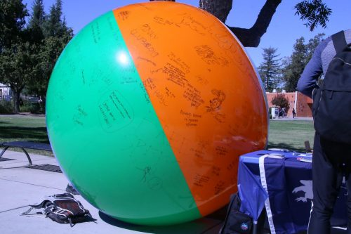 Young Americans for Liberty, a national organization, promotes free speech with the free speech ball outside of the library at American River College on Oct. 2, 2019. (Photo by Jack Harris)