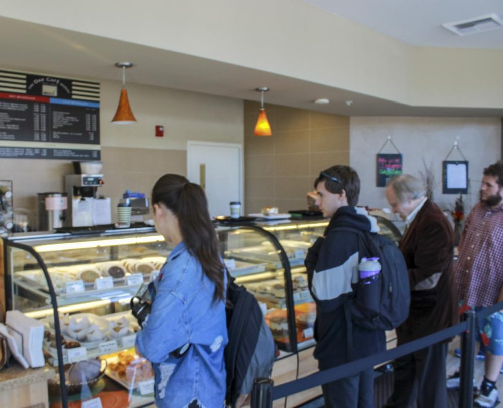 Students line up to get baked goods and beverages in the Oak Cafe at American River College on Oct. 24, 2019.