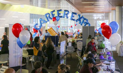 The Career Expo in the Student Center offers various career opportunities to the student body at American River College on Nov. 6, 2019. The expo continues through Nov. 7. (Photo by Bram Martinez)