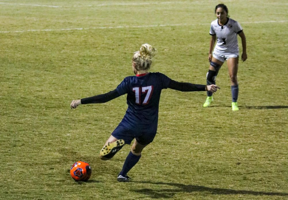 Beavers defender Haley Norlie passes the ball at the game against San Joaquin Delta at American River College on Nov. 8, 2019. ARC lost 0-1. (Photo by Bram Martinez)