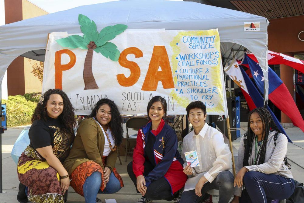 (From left to right) Jessie Fuapau, Hosanna Kitiona, Learzi Peredo, Jeremy Tulawan and Oszhane Daniels promote the Pacific Islander and Southeast Asian Club during Club Day at American River College on Nov. 14, 2019. (Photo by Brandon Zamora)