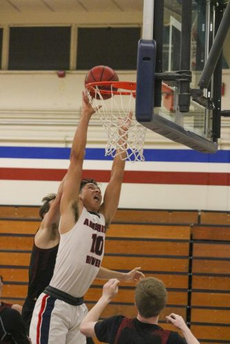 American River College forward Chris Cagle attempts a dunk in a home game against the Redwoods College basketball team on Nov. 7, 2019. (Photo by Colin Bartley)