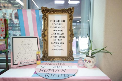 An altar, photographed on Nov. 19, 2019 was created by members of the American River College Pride Center, to honor members of the transgender community who have lost their lives due to gender-based violence and suicide. The altar was created for Trans Day of Remembrance which takes place annually on Nov. 20.  (Photo by Emily Mello)