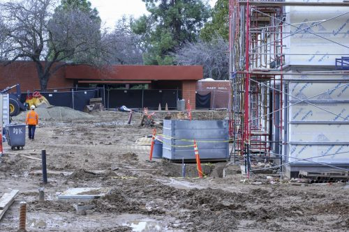 Construction on the new Science Technology Engineering Mathematics (STEM) building is slowly progressing at American River College on Jan. 23, 2020. (Photo by Oden Taylor)