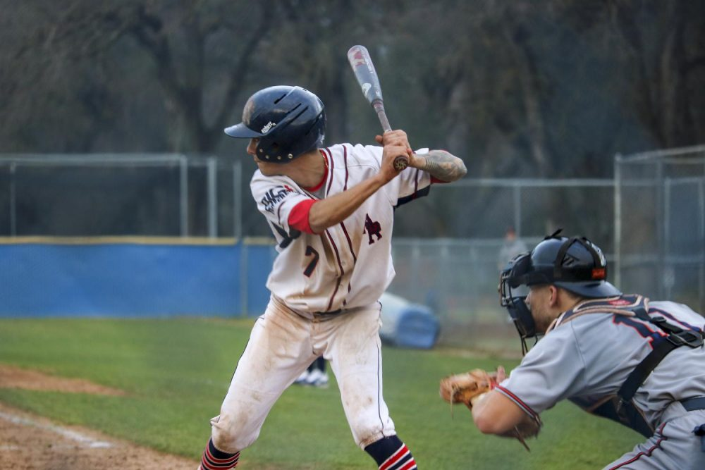 Second baseman Daniel Paiz steps up to the batter box to help his team by getting a hit against West Valley on Jan. 25, 2020. (Photo by Brandon Zamora)