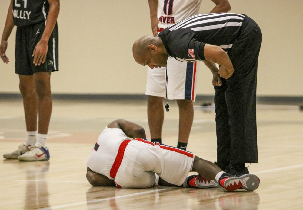 Guard Jair Lang went down with a leg injury in the second half with 15:40 left to go, thankfully he was okay and did return to the game. ARC lost the game 83-72 on Feb. 13, 2020. (Photo by Emily Mello)