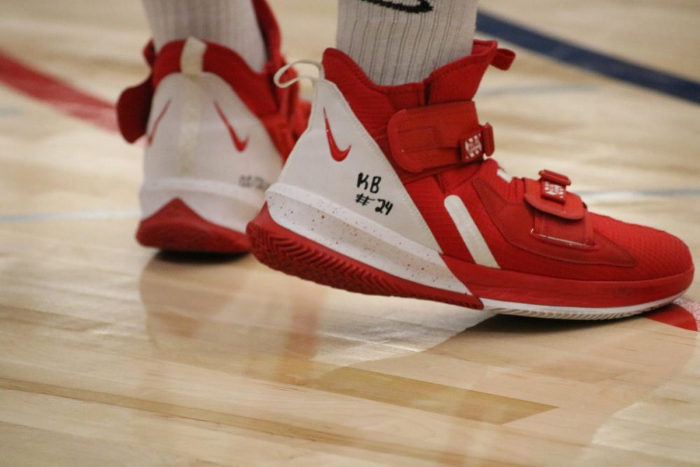 American River College basketball player Vernon Robertson inscribed a tribute to Kobe Bryant on his shoes prior to a game versus Cosumnes River College on Jan. 31, 2020. (Photo by Thomas Cathey)