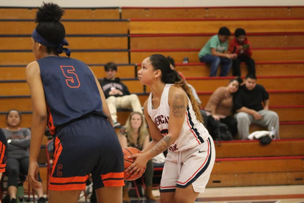 Guard Shantanice Mendoza prepares to shoot a free throw in a home game versus Cosumnes River College on Jan. 31, 2020. (Photo by Thomas Cathey)