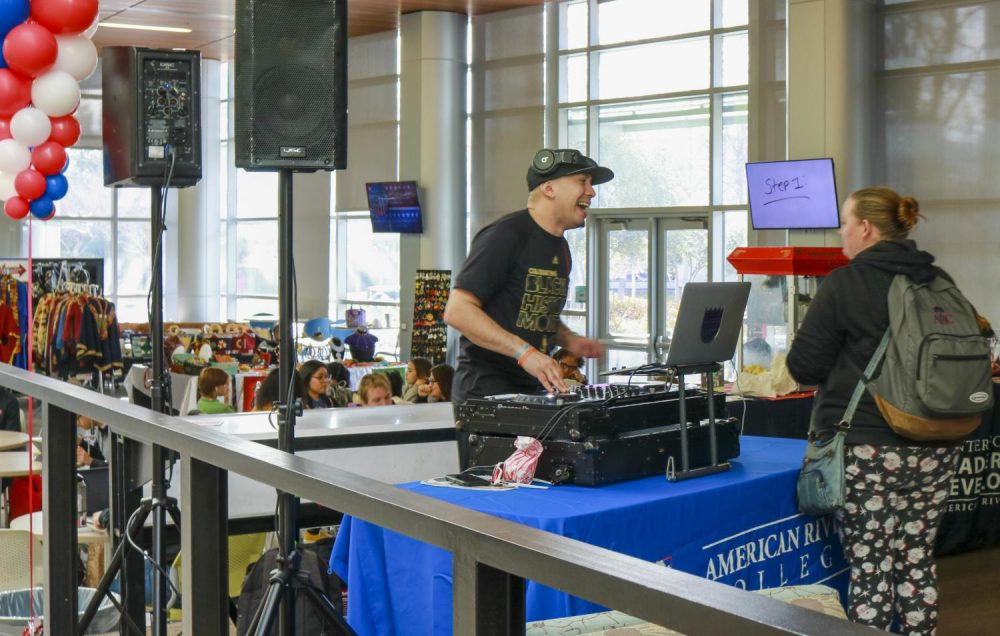 DJ EDDIE Zin was at the Student Center at American River College for the schools Weeks of Welcome Day Extravaganza on Feb.4 , 2020 (Photo by Joshua Ghiorso).