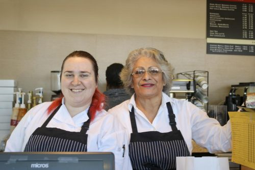 Culinary majors Terra Tucker and Mary Oliza serves customers during the opening day at Oak Cafe at American River College on Feb. 12 , 2020. (Photo by Marquala Brown)