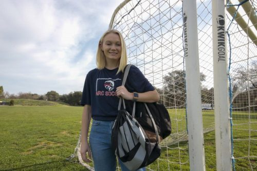 Kinesiology major Haley Norlie, plays center back for ARC's soccer team, while balancing her academic schedule. (Photo by Dylan Lillie)
