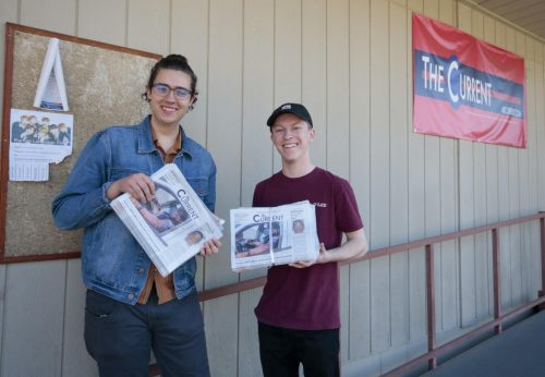 The Current's opinion editor Colin Bartley and staff writer Alex Muegge get ready to distribute the paper at American River College on Feb.19,  2020. (Photo by Emily Mello)