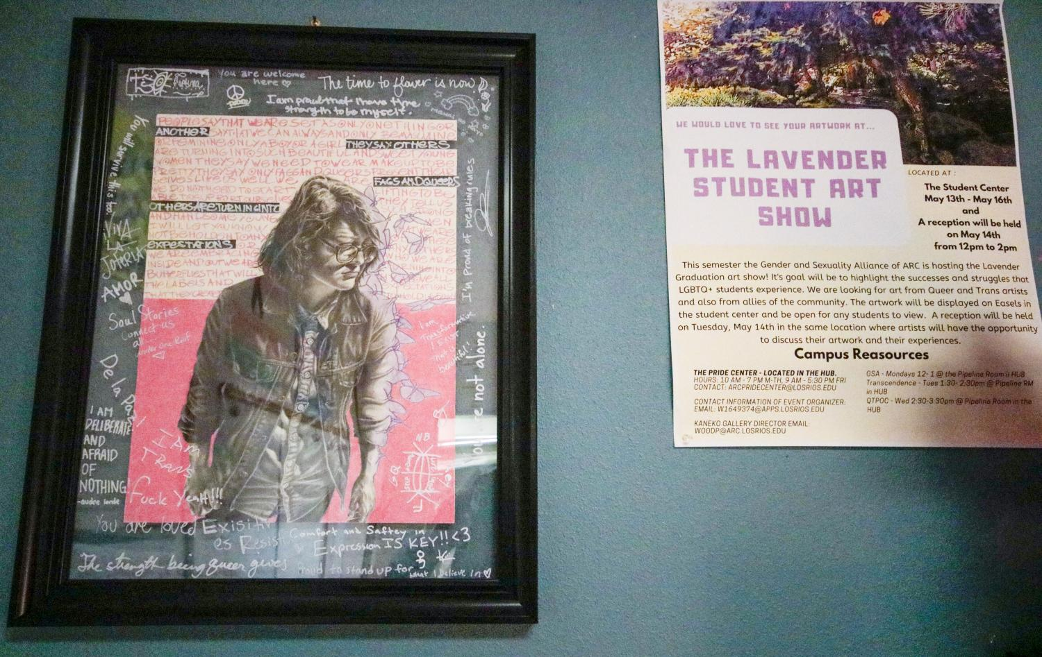 Ryan Sunzeri's artwork hangs in the Pride Center at American River College after winning last year's Lavender Art Show. The Lavender Art Show highlights art from ARC's LGBTQ+ students and faculty and will be held on Feb. 24-26 in the Student Center. (Photo by Oden Taylor)