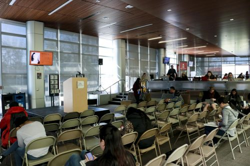 Students prepare to talk about their negative social experiences in and out of the classrooms of American River College, and how it has affected them.  (Photo by Bram Martinez)