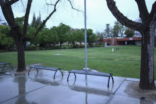 The benches in front of the library at American River College are empty on March 16, 2020 due to the suspension of face-to-face classes in an effort to prevent the spread of coronavirus. The entire campus will be closed to both faculty and students on March 18. (Photo by Oden Taylor)