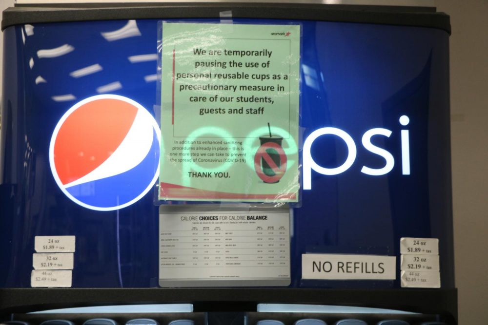 As a precaution to prevent a coronavirus spread, the use personal reusable cups will be prohibited at the soda fountains located in the ARC cafeteria. (Photo by Thomas Cathey)