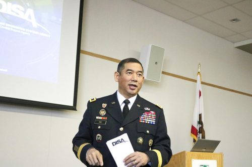 Army Major General Garrett S. Yee,  Assistant to the Director of the Defense Information Systems Agency, delivers a presentation on cybersecurity to American River College students on Feb.13, in the Student Center Board Room. (Photo by Colin Bartley)