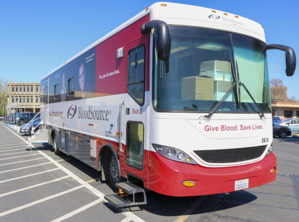 Students and teachers can donate blood on the American River College campus at the blood drive, which is located in the parking lot area next to the Portable Village and Davies Hall. (Photo by Joshua Ghiorso)