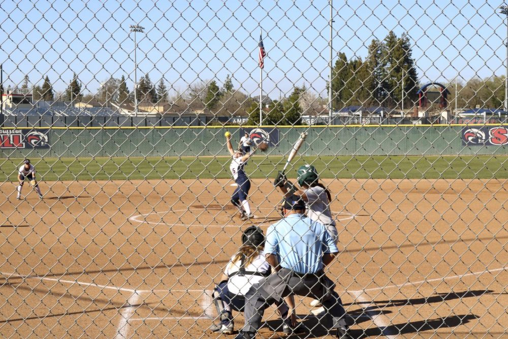 American River College pitcher Cassie Ralston, throws a pitch during the game against Diablo Valley College at ARC softball field on March 3, 2020. (Photo by Heather Amberson)