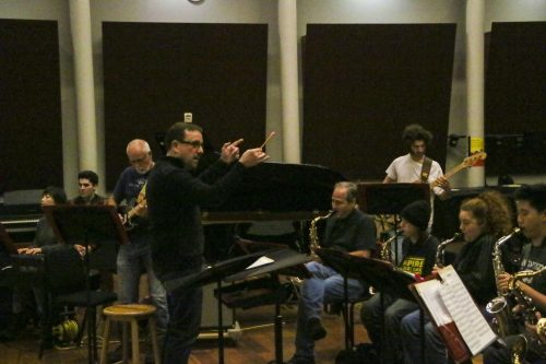 Dr. Eifertsen leads Instrumental Jazz Ensemble rehearsal ahead of the Instrumental Jazz Ensemble Concert, happening on March 12, 2020 at the American River College Theatre. (Photo by Clifton Bullock)