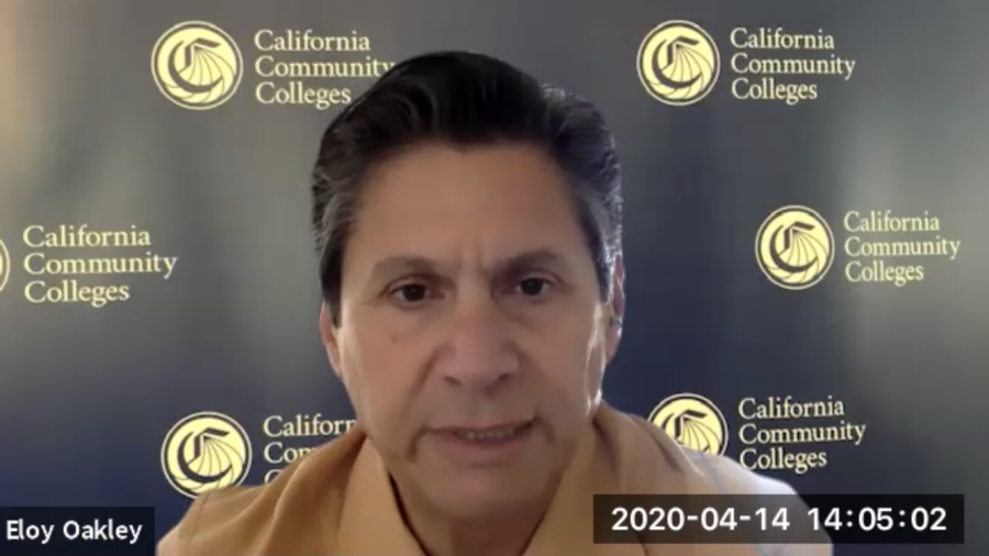 Pictured here is a screenshot from a virtual press conference hosted by CCC Chancellor Eloy Ortiz Oakley as he addresses student media in on April 14, 2020.