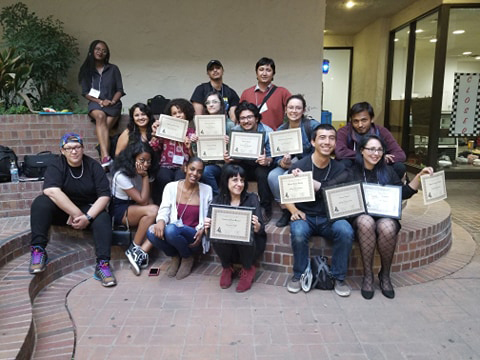 The American River College Current takes a group photo with their awards during the Northern California Journalism Association of Community Colleges (JACC) at San Joaquin Delta College in Stockton, Calif. on Nov. 3, 2018. Due to the coronavirus, the conference was cancelled, but JACC released the write-in winners on their website. The Current won three awards including general excellence. (Photo Courtesy of Jennah Booth)