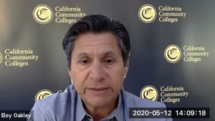 Chancellor of California Community Colleges Eloy Ortiz Oakley held his second coronavirus-related virtual press conference with student media on May 12, 2020.