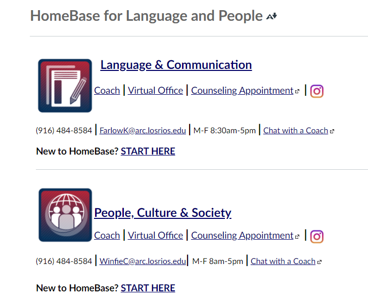 "Each personalized HomeBase can be found under the ""Courses"" tab in Canvas. From there, students can connect with coaches and counselors to receive the guidance they need to succeed."