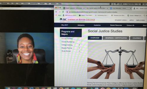 Asha Wilkerson, department chair of Legal Studies, and Sociology professor for the fall 2020 semester is co-teaching Introduction to Social Justice Studies (SJS 300) in a synchronous online course at American River College. The SJS 300 course is a required course for students majoring in social justice. (Photo by Ariel Caspar)