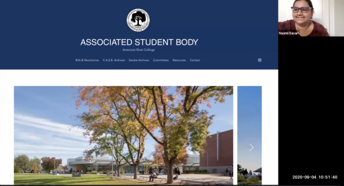 American River College's Student Senate president Naomi Dasari explains the new independently-operated ARC Associated Student Body website during the meeting on Sep. 4, 2020.