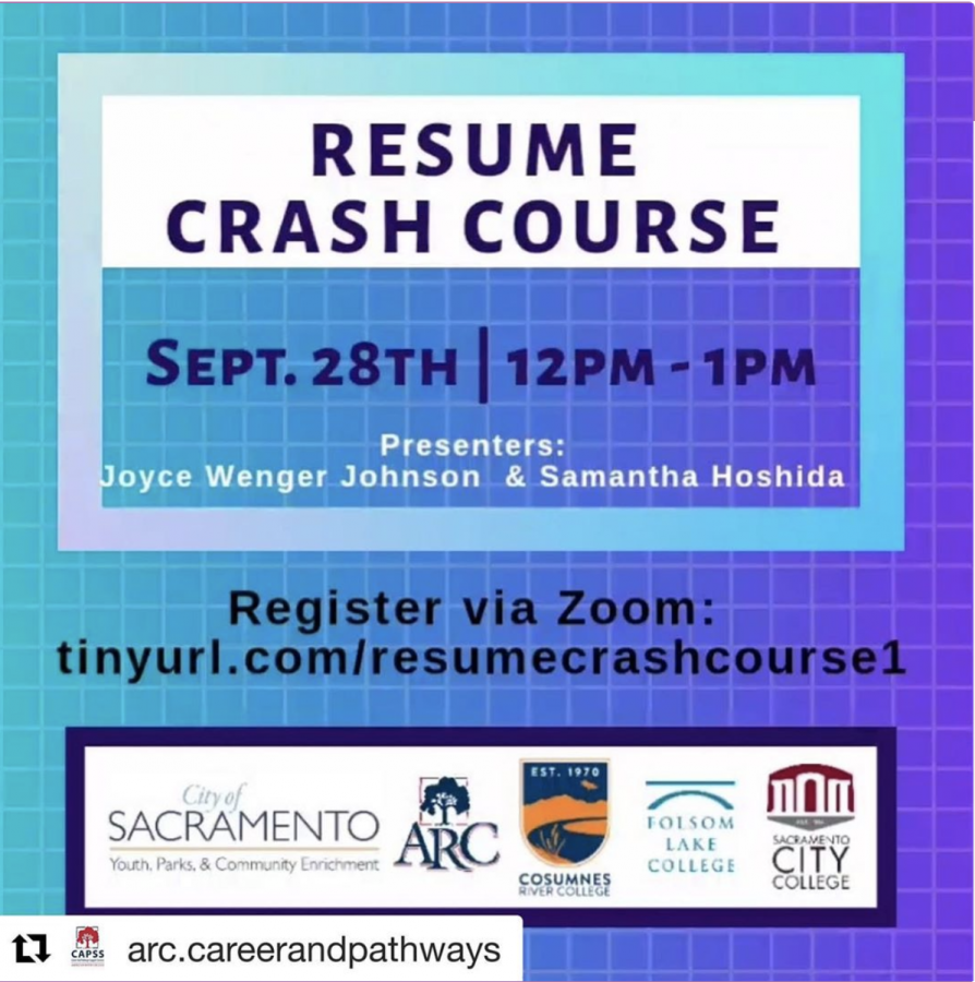 Career and Pathways events include workshops. An upcoming event on Sept. 28, 2020 is this Resume Crash Course that will benefit students if they plan to attend the recruiting meetings. (Photo courtesy of @arc.careersandpathways on Instagram)