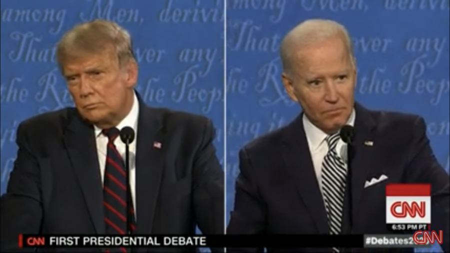 President Donald Trump (left) and former Vice President Joe Biden (right) go head-to-head in the first of three scheduled presidential debates on Sept. 29, 2020. The Commission on Presidential Debates at Case Western Reserve University and the Cleveland Clinic in Cleveland hosted the event and Fox News' Chris Wallace moderated.  (CNN screenshot)