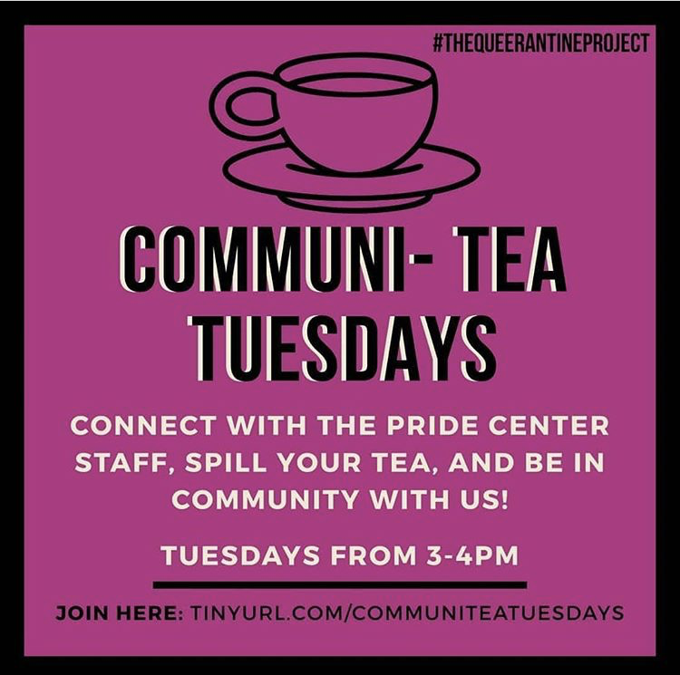 The American River College Pride Center invites LGBTQ+ students to spill their tea by attending Communi-Tea Tuesdays, a virtual Pride Center Space, during the fall 2020 semester. (Photo courtesy of the ARC Pride Center)