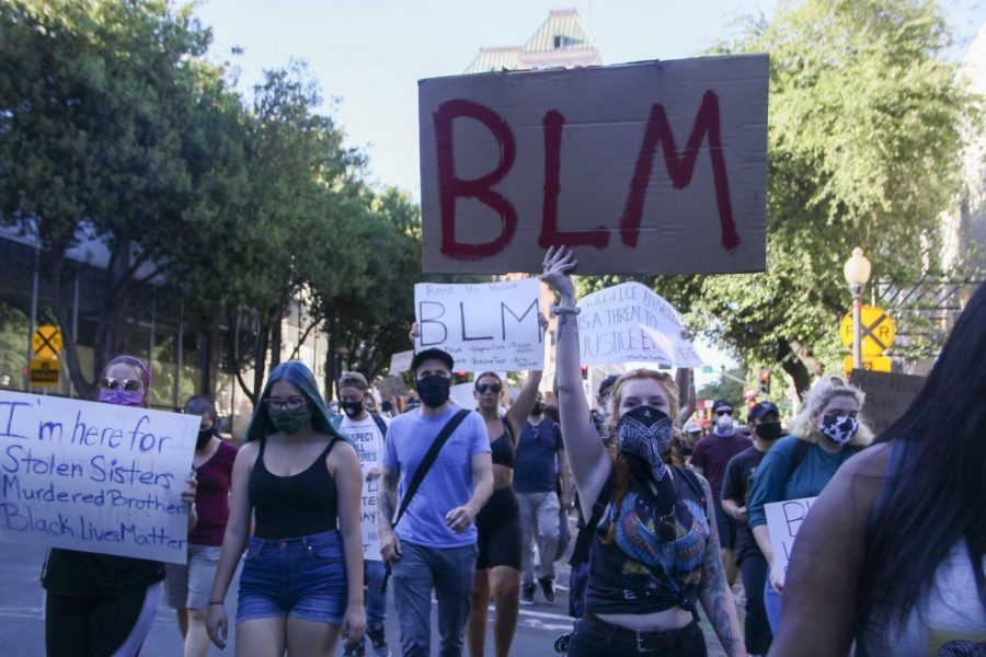 Toni Shiffmaier and the four student senate presidents of the district were motivated to launch a BLM task force after the death of George Floyd and other cases of police brutality against African-Americans this year. (Photo by Emily Mello)