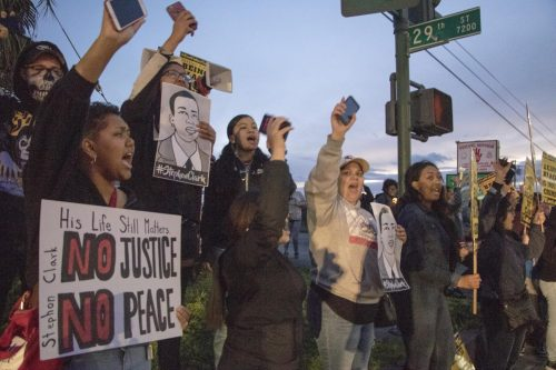 National protests against police brutality of Black people, erupted in 2019 after Sacramento police killed Stephon Clark, including a March 6, 2019, protest in Sacramento. Nearly two years later, the killings continued with the April 11, 2021, killing of Daunte Wright in Minnesota.(File Photo)