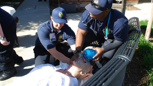 As one of the few classes left on campus, at American River College, the EMS department is finding new ways to teach in Spring 2021. (Photo via ARC