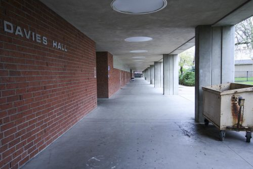 On March 16, 2020 the area outside of Davie's Hall at American River College is completely empty, as face-to-face classes have been suspended indefinitely in an effort to contain the COVID-19 virus. After more than a year of lockdown, the ARC campus plans to reopen itself to students in Fall 2021. (Photo by Oden Taylor)