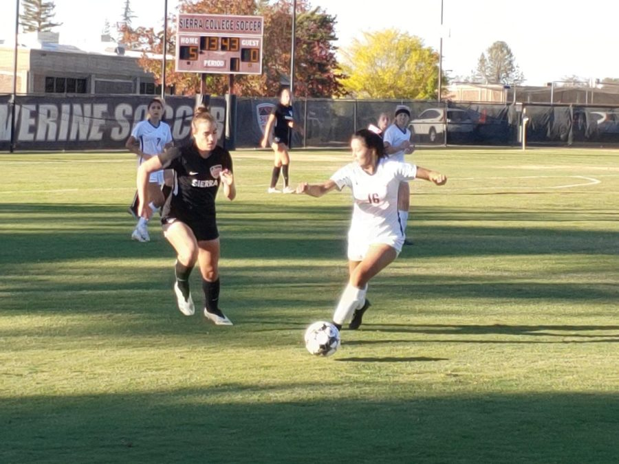 American River College's Itzel Bucio runs after the ball during a game against Sierra College. ARC would lose by a final score of 5-0, on Oct. 12, 2021. (Photo by Sam Berg)