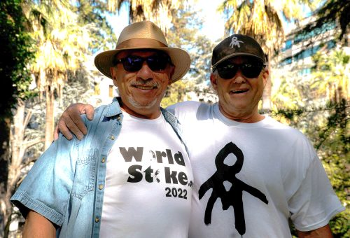 Rodney Mott, American River College Adjunct Art professor, pictured on the right, with Ray Gonzales on the left, has dedicated his life to teaching and creativity. (Photo by Diana Martinez)