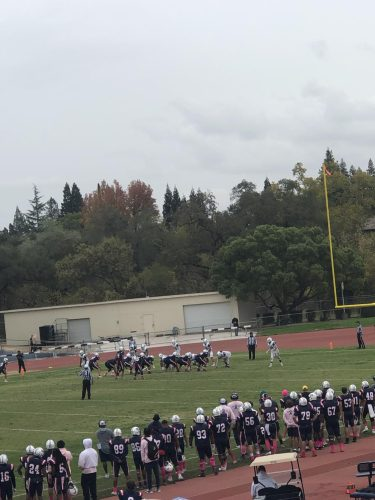 The American River College football team drives for a score to put an end to the game against Santa Rosa College on Oct. 23 (Photo by Cynsere Kelly)